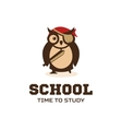 Isolated wise owl logo School logotype vector image