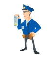 Policeman with order icon cartoon style vector image