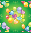 seamless pattern with colorful balloons on green vector image
