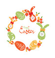 easter background with wreath of easter eggs vector image vector image