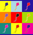 kite sign pop-art style colorful icons vector image