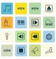 set of 16 audio icons includes dance club vector image