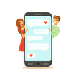 two lovers standing near a big smartphone and vector image