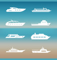 white ship and boats icons collection vector image