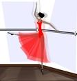 exercising of ballet dancer in red vector image