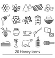 set of honey theme black outline icons eps10 vector image