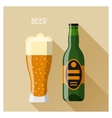 Bottle and glass of beer in flat design style vector image vector image