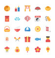flat icons set of chinese elements vector image