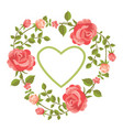 floral card with roses and heart vector image
