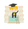 Happy Students Sit On Laptop With Books vector image