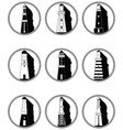 Lighthouses icons in knotted circle in black and vector image