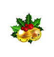 two golden jingle bells with red ribbon vector image