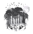 Wolf silhouette on forest background vector image