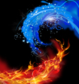 Fire and water concept vector image