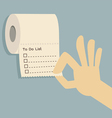 to do list on toilet paper vector image