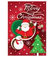 Santa Christmas Text and Tree vector image