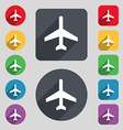airplane icon sign A set of 12 colored buttons and vector image