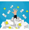 businessman in pile of documents vector image