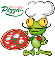 chef frog cartoon with pizza vector image