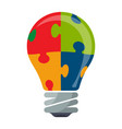 colorful bulb icon with puzzle concept vector image
