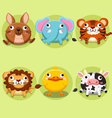 Cute animals cartoons collections vector image
