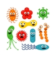 Set of cute funny bacterias isolated on white vector image