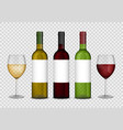 transparent wine bottles and wineglasses mockup vector image
