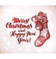 Merry Christmas and Happy New Year Xmas sock with vector image vector image