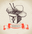 Hand drawn vintage Chinese noodles background vector image