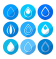 Water Drops Icons Set on Blue Circles vector image