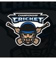 Cricket sport emblem vector image