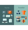 Set of travel icons in flat style Travel plan vector image