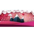 mountain paper landscape heart valentine day vector image