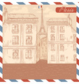 Retro-styled France postcard vector image