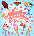 background with a set of fruits ice-cream vector image vector image