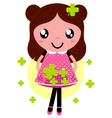 Cute little spring Girl with four leaf clovers vector image