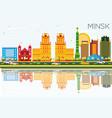 minsk skyline with color buildings blue sky vector image