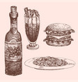 hand drawn food sketch for menu restaurant product vector image