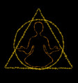 meditating person in round and triangle frame vector image vector image