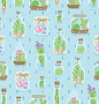 Terrariums on blue background seamless pattern vector image vector image