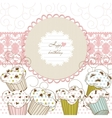 Cupcakes background lace frame vector image
