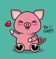 color background with cute kawaii animal pig vector image