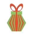 colored gift box red and green stripes bow vector image