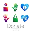 Donation sign icon Set Donate money box hand vector image