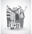 Group of happy children shadow gray scale vector image