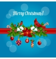 Merry Christmas holly garland bow poster vector image vector image