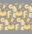 abstract beads seamless pattern in gold xmas color vector image
