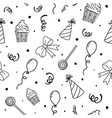 birthday pattern party background hand drawn vector image