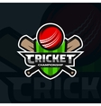Cricket sports badge emblem vector image