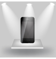 Mobile phone on white shelve on light grey vector image